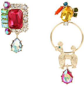Betsey Johnson Granny Chic Poodle and Statement Crystal Mismatch Drop Earrings