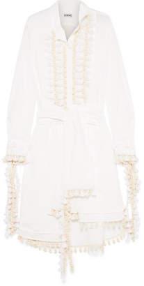 Loewe Tasseled Poplin Midi Dress - White