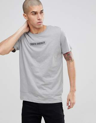 Jack and Jones Core Graphic T-Shirt With Drop Curved Hem