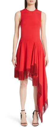 Calvin Klein Asymmetrical Fringe Hem Silk Dress