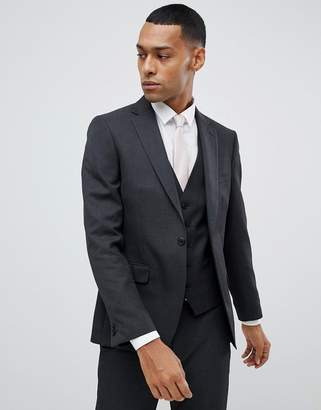 Moss Bros Skinny Suit Jacket in Charcoal