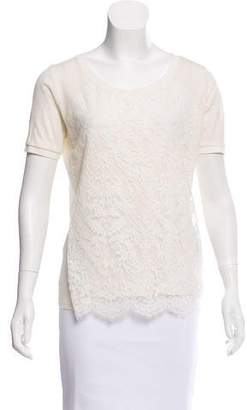 The Kooples Lace-Paneled Scoop Neck Top