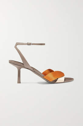 The Row Ribbons Leather And Satin Sandals - Beige