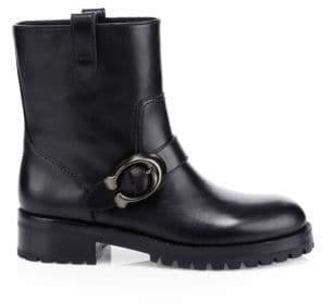 Coach Leighton Leather Moto Boots