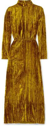 Stine Goya Liv Crushed-velvet Maxi Dress - Gold