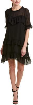 Kensie Ruffle Chiffon Shift Dress