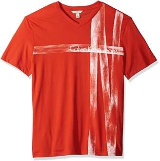 Calvin Klein Jeans Men's Short Sleeve T-Shirt V-Neck with Brush Stroke Logo