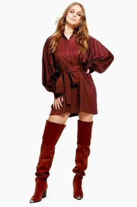 Topshop Womens Smocked Mini Dress - Oxblood