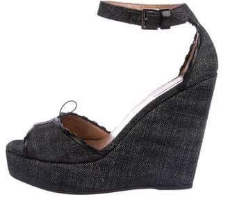 Alaia Leather-Trimmed Denim Wedges