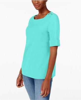 Karen Scott Elbow-Sleeve Zip-Shoulder Top, Only at Macy's $29.50 thestylecure.com