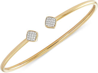 Wrapped Diamond Square Flexy Bangle Bracelet (1/6 ct. t.w.) in 14k Gold-Plated Sterling Silver