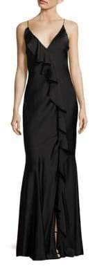 Aidan Mattox Ruffled V-Neck Gown