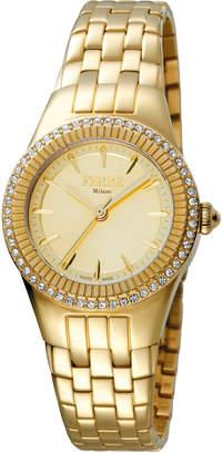 Ferré Milano Women's 30mm Stainless Steel 3-Hand Glitz Watch with Bracelet, Golden