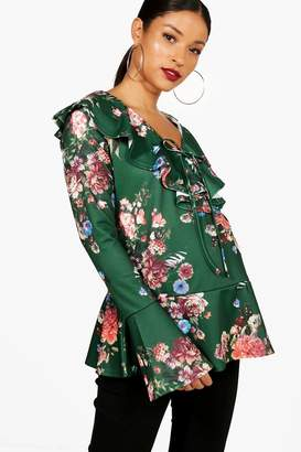 boohoo Maternity Lilly Floral Ruffle Blouse