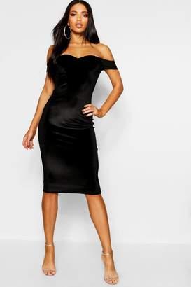 boohoo Velvet Off The Shoulder Midi Dress