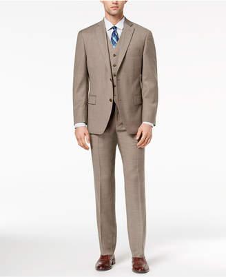 Michael Kors Men's Big & Tall Classic-Fit Brown Birdseye Vested Suit