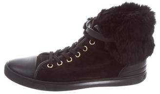Louis Vuitton Fur-Trimmed High-Top Sneakers
