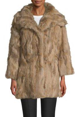 Adrienne Landau Textured Rabbit Fur Coat