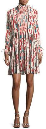 Valentino Mock-Neck Long-Sleeve Crepe de Chine Lipstick-Print Dress