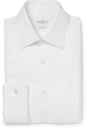 Brunello Cucinelli White Slim-Fit Pleated Bib-Front Double-Cuff Cotton Tuxedo Shirt