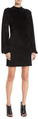 Elizabeth and James Nia Blouson-Sleeve Velour Mini Dress
