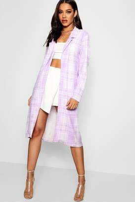 boohoo Check Collared Duster Jacket