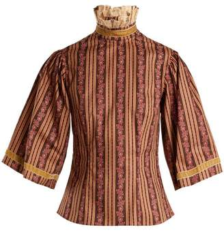 Batsheva - Ruffled Neck Floral Print Cotton Blouse - Womens - Brown Multi