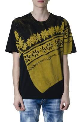 Maison Margiela Black Cotton T-shirt With Contrasting Color Print