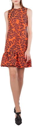 Akris Punto Sleeveless Tropical Leaf Jacquard Dress