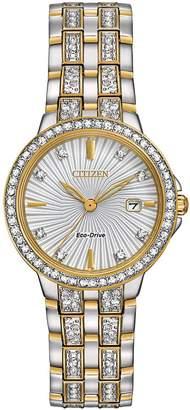 Citizen Silhouette Swarovski Crystal Two-Tone Stainless Steel Link Bracelet Watch