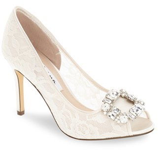 Nina 'Rhodes' Crystal-Embellished Lace Pump (Women) $108.95 thestylecure.com