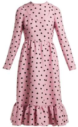 Valentino Heart-print silk-crepe midi dress
