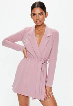 Missguided Mauve Long Sleeve Belted Blazer Dress