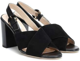 Tod's Suede and leather slingback sandals