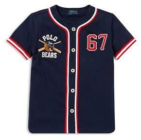 Ralph Lauren Boys' Polo Bear Cotton Baseball Jersey -Little Kid