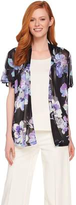 Susan Graver Printed Mesh Short Sleeve Cardigan