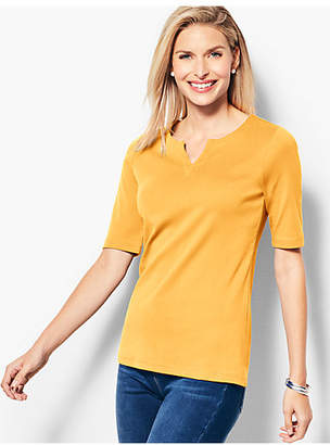Talbots Essential Pima Split-Neck Tee