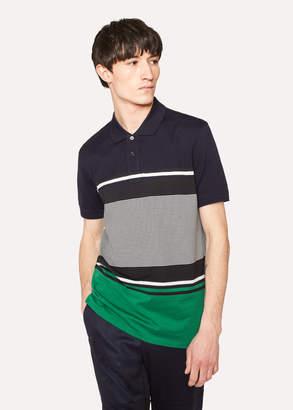 Paul Smith Men's Navy Colour-Block Stripe Cotton Polo Shirt
