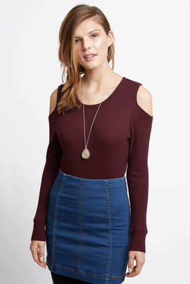 Sanctuary Bowery Cold Shoulder Thermal Top