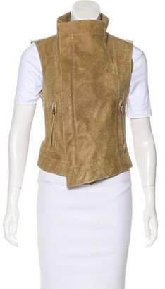 Veda Leather Asymmetrical Vest