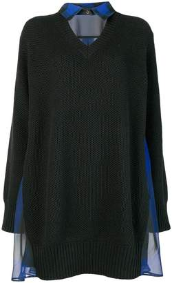 Sacai collar sweater dress