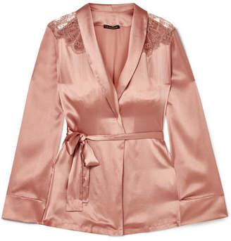 I.D. Sarrieri Chantilly Lace-trimmed Silk-satin Pajama Top - Blush