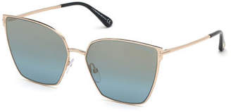 Tom Ford Helena Mirrored Square Sunglasses