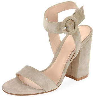 Gianvito Rossi Suede Chunky-Heel Ankle-Wrap Sandal