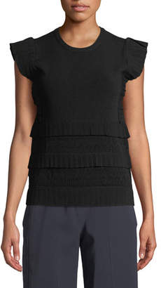 Carven Tiered Ruffle Crewneck Tank