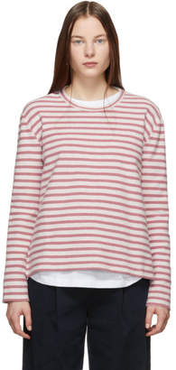 YMC Off-White and Pink Reverse Loopback Striped Long Sleeve T-Shirt