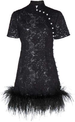 Huishan Zhang Su Floral Lace Feather-Trim Kimono Mini Dress Size: 6