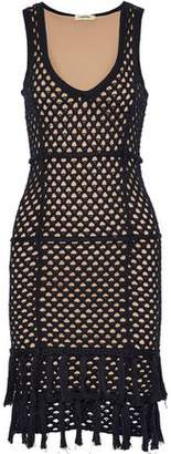 L'Agence Fringe-Trimmed Crochet-Knit Cotton And Silk-Blend Dress