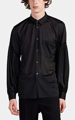 Comme des Garcons Men's Sheer Jersey Puff-Sleeve Blouse - Black