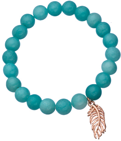 Blu Bijoux Rose Gold Feather and Blue Beaded Stretch Bracelet